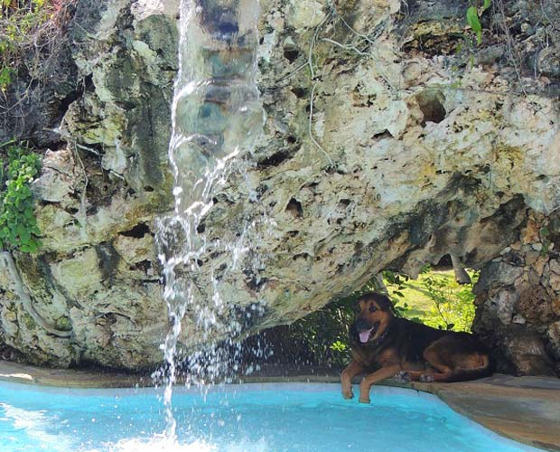 waterfall into swimmingpool